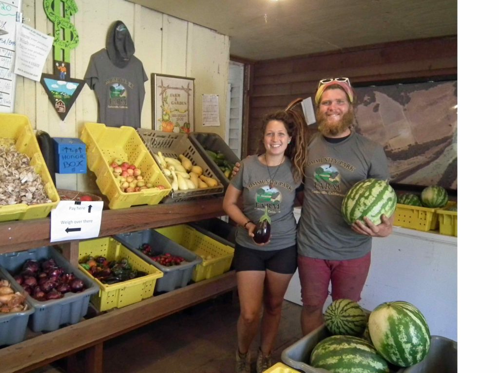 Tessa & Jesse working the farm stand